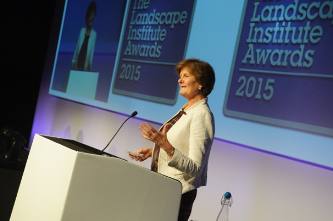 Dame Fiona Reynolds, the former director general of the National Trust presenting the Landscape Institute awards on Thursday.