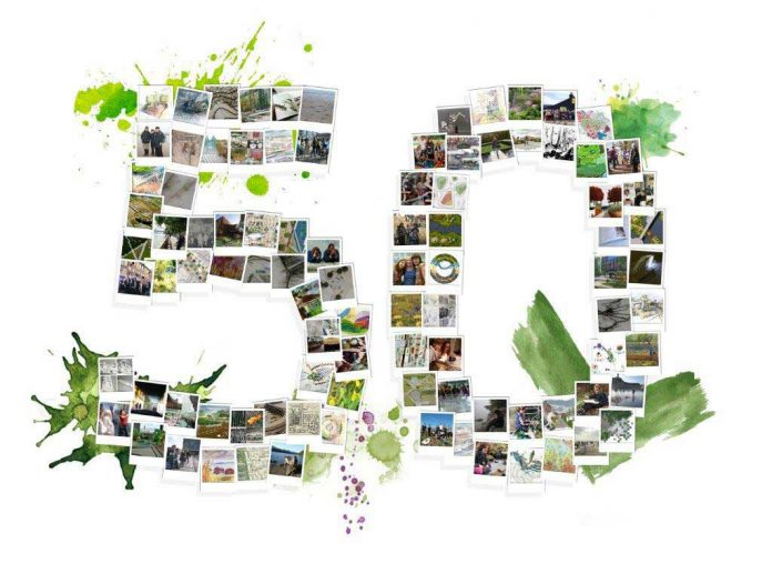 50 Polaroid logo for the 50th anniversary of landscape architecture education in Leeds. © Leeds Beckett University