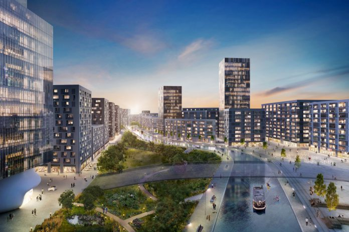 The proposed Grand Union Park at the heart of the development