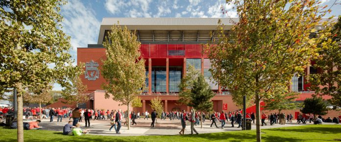Liverpool FC's new stand at Anfield, with new public square. All photos © Adrain Lambert