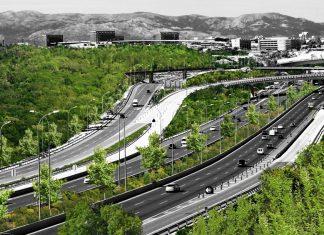 Illustration showing green infrastructure in M40 Valdebebas Calle Alberto de Palacio