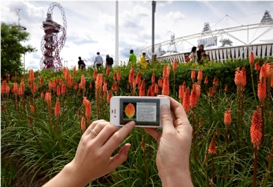 The app in use at the Olympic Park