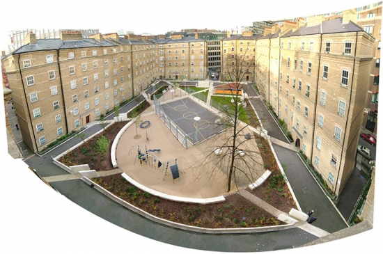 An aerial view of the Abbey Orchard estate