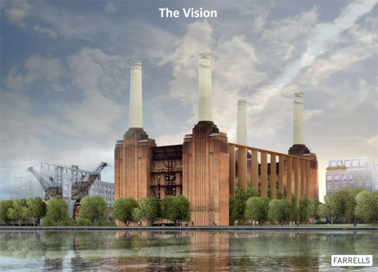 Sir Terry Farrell's vision from his 'Initial Thoughts' presentation on Battersea Power Station. Credit: Farrells.