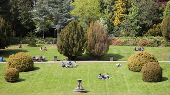 The sunken garden at Heriot-Watt University