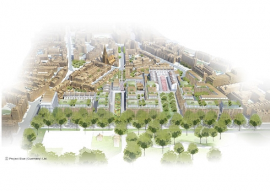 Chelsea Barracks masterplan - aerial.