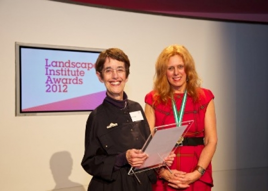 Di Haigh receiving her award from Sue Illman