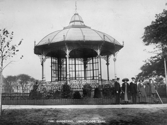 he bandstand at Lightwoods Park, one of the parks to benefit, photographed in about 1912