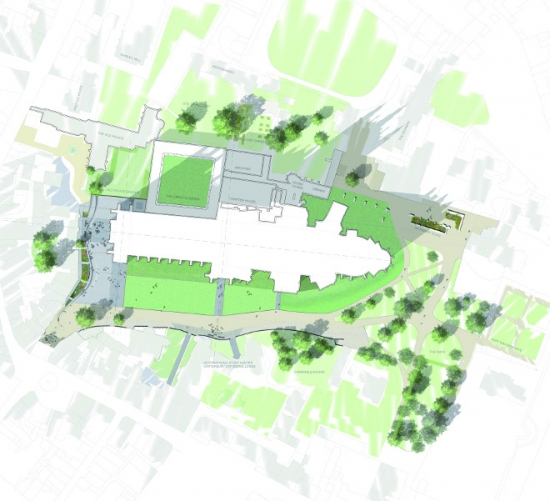 The shortlisted design for the Canterbury Cathedral Landscape Design Competition from Hyland Edgar Driver Landscape Architects (UK) in collaboration with architectural glass artists Andrew Moor Associates, Thorn Lighting and KLH Sustainability.