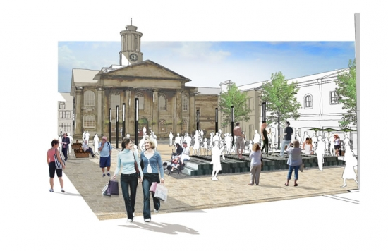 Gillespies' proposed design for Market Square, Lancaster