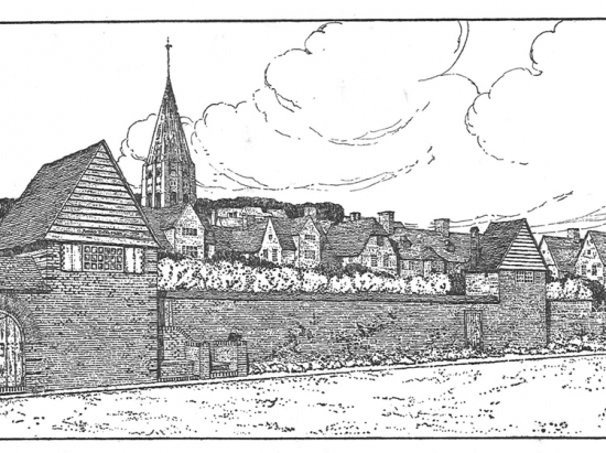 Charles Wade's drawing of the Great Wall in the Hampstead Garden Suburb
