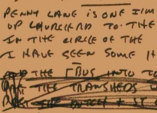 Lyrics by John Lennon for Penny Lane. Image courtesy of the British Library