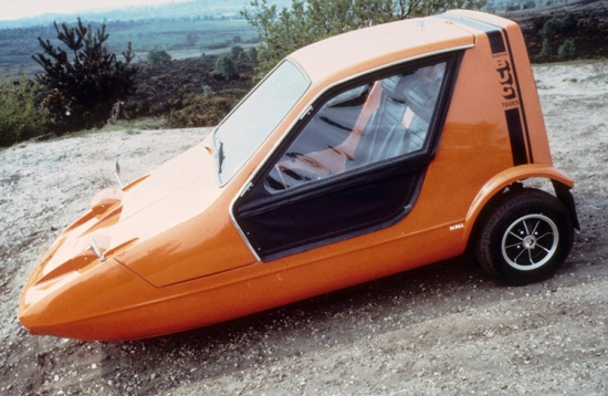 Bond Bug' three-wheeler car made by Reliant. Designed by Tom Karen of Ogle Design and launched in 1970.