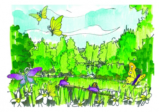 One of the initial sketches for the Jo Yeates Memorial Garden