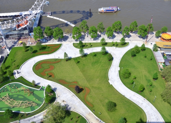 Aerial view of the completed Jubilee Gardens