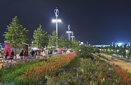 The special award-winning London 2012 Olympic Parklands and Public Realm, designed by LDA Design and Hargreaves Associates. Copyright: LDA Design