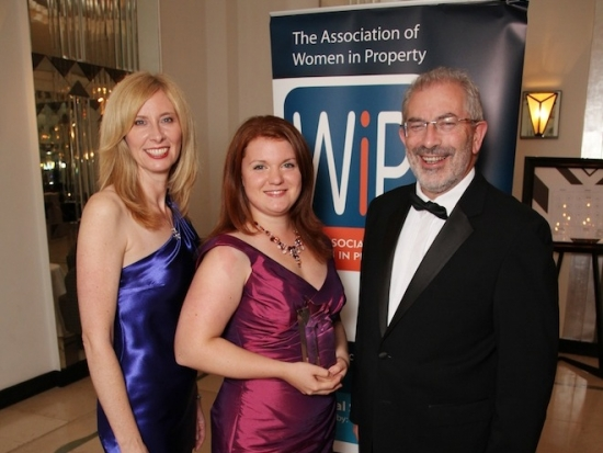 2013 Women in Property (WiP) National Student Award winner Charlotte Collins, with (left) WiP national chairman Julie Fawcett and (right) Sir Bob Kerslake.