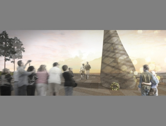 The winning entry by Colour: Urban Design with a sculptural monument by Gordon Young