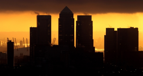 Canary Wharf, London, at sunset