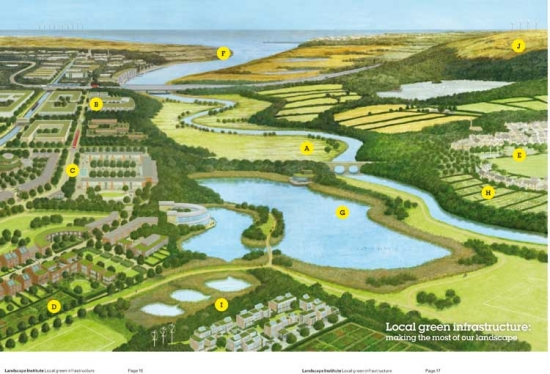An illustration and accompanying diagrams featured in the publication showing examples of how local green infrastructure initiatives can create a network of essential and desirable services
