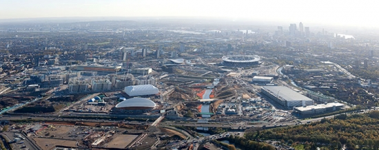 erial photograph of the London 2012 Olympic site taken in February 2011