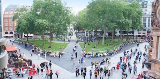 Crowds congregate in the newly refurbished Leicester Square. Photograph: Burns + Nice