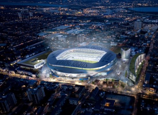 Night aerial view of the new stadium.
