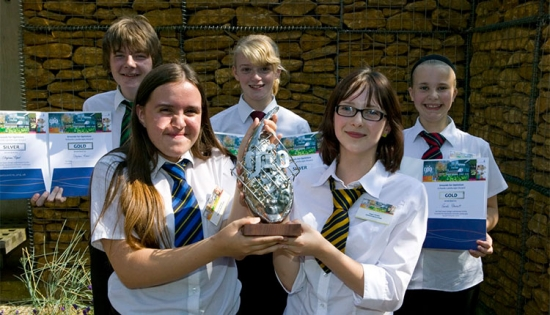 Pupils from Testwood Sports College with their trophy.