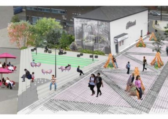 Pink Plaza is a proposal by Kay Glendinning and Brigitte Griffiths to turn a backstreet route into a lively pedestrian plaza.
