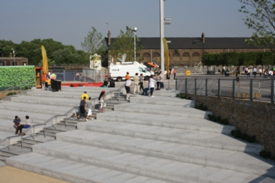 The steps in front of Granary Square, King's Cross