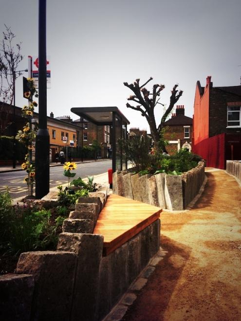 The Edible Bus Stop 'pocket park' in Lambeth. Photograph: The Edible Bus Stop