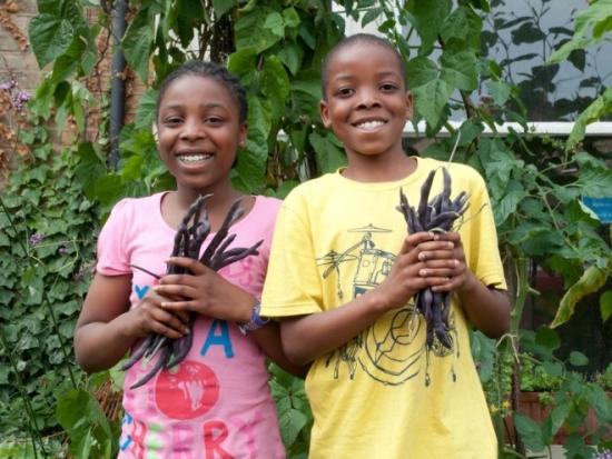 Two children at the Chelsea Fringe Festival