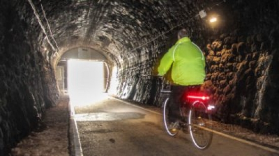 Cycling through Coombe Down tunnel. Photo: Malcolm Dodds