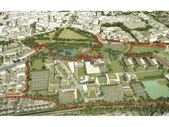 An outline of the new waterside campus