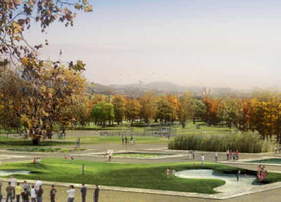 View of the eco park. Designs for Yongsan Park, Korea, by West 8
